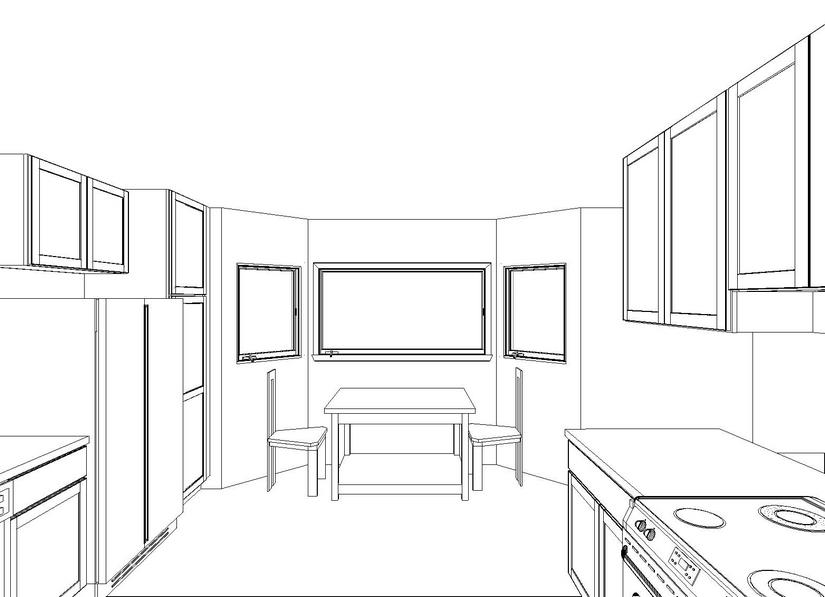 Drawing of seating area by the picture bay window before the remodel.