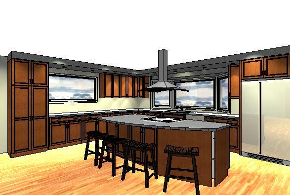 Homeowners Design Center's 3D rendering of an alternative design to the homeowners' original J-shaped design.