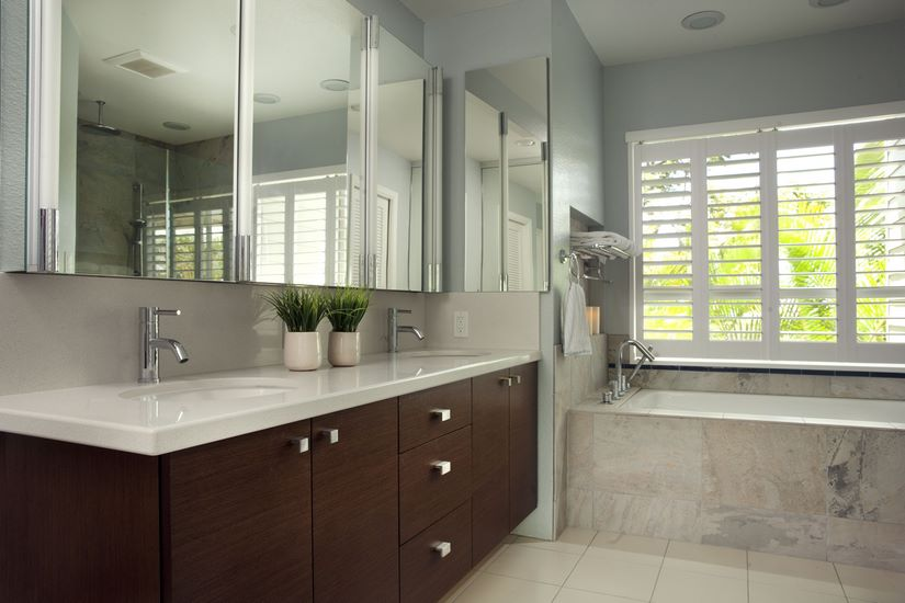 Floating cabinets, one of the most notable features for the bathroom remodel.