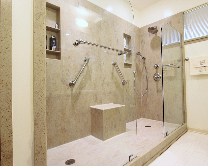 """Custom, solid surface, bathroom remodel exudes spa appeal for $15.5K,"" featuring INSOLID."