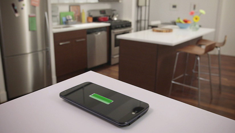 """Wireless charging through your solid surface countertop,"" featuring Hawaii Kitchen & Bath."