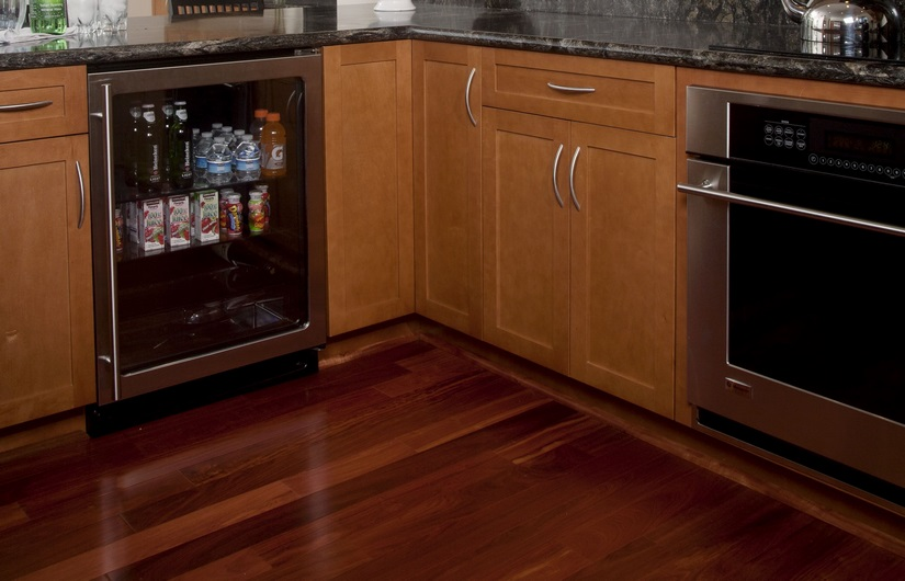 Beverage center from Uline and appliances from Monogram.