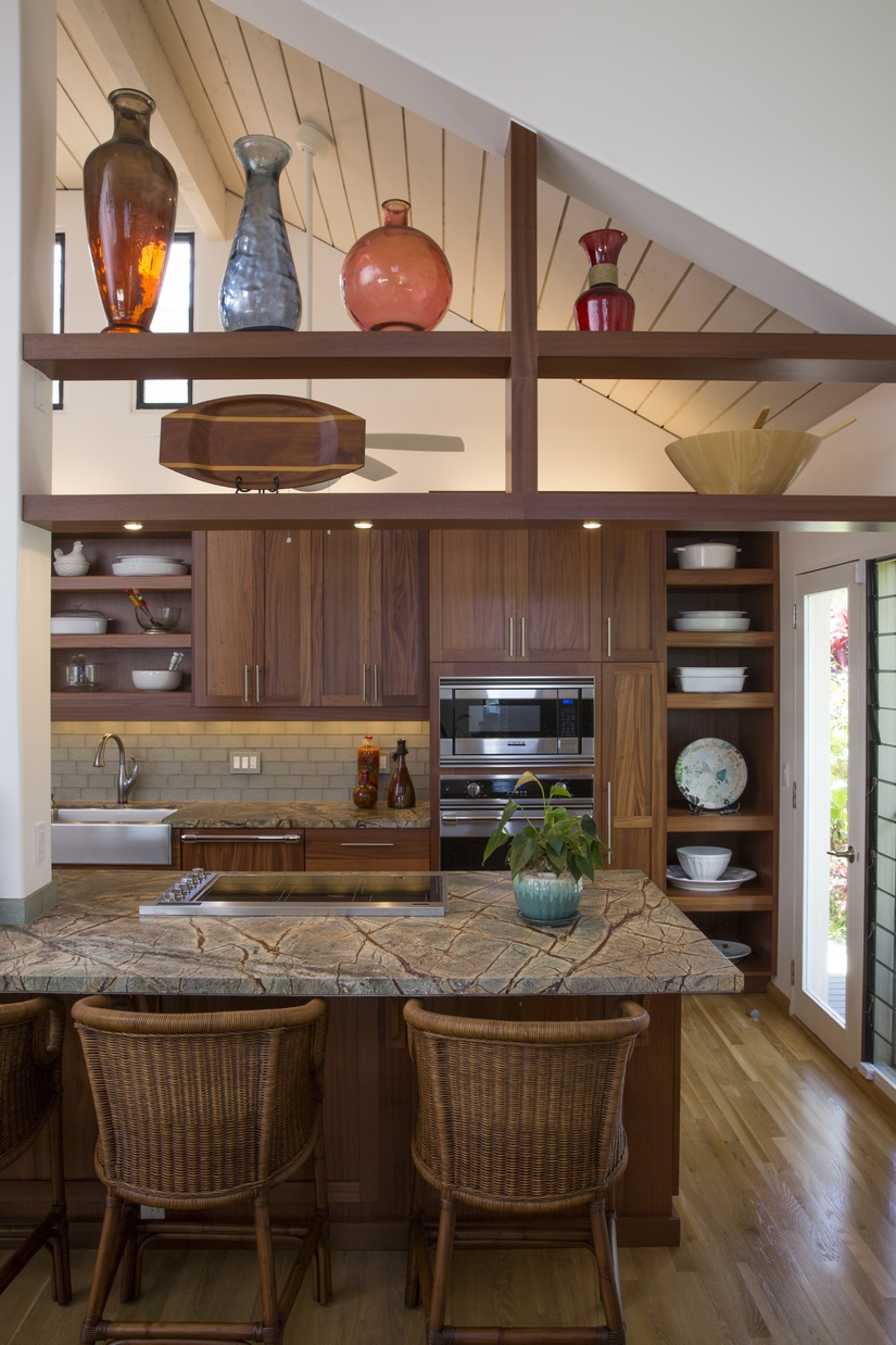 Utilizing open shelving helped to create an even greater openness to the kitchen.